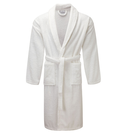 Towelling White Dressing Gown Shawl Collar | Homesware UK