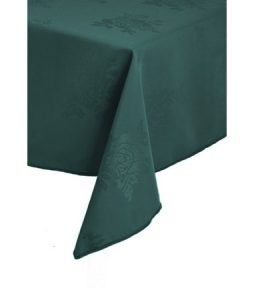Good Dark Green Polyester Damask Rose Design Tablecloths