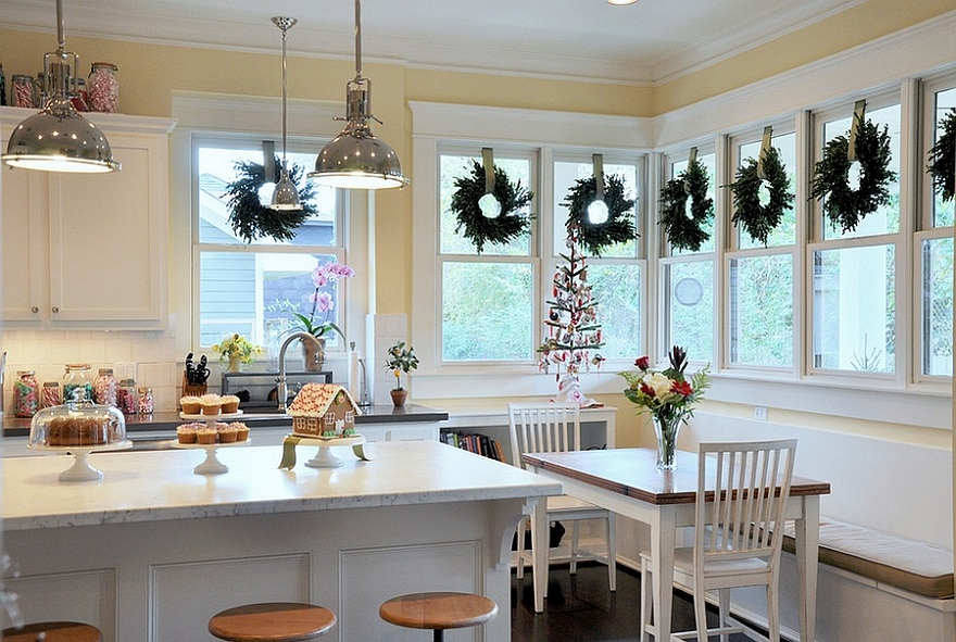 How to get your kitchen ready for christmas for Christmas decorating kitchen cabinets